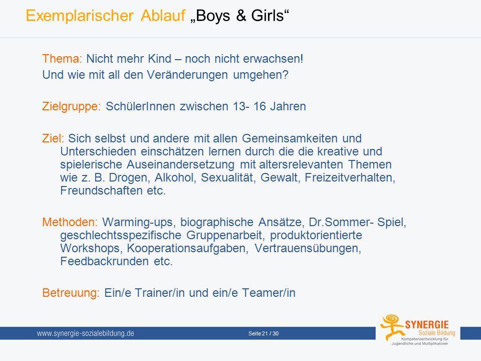 """Exemplarischer Ablauf """"Boys & Girls"""