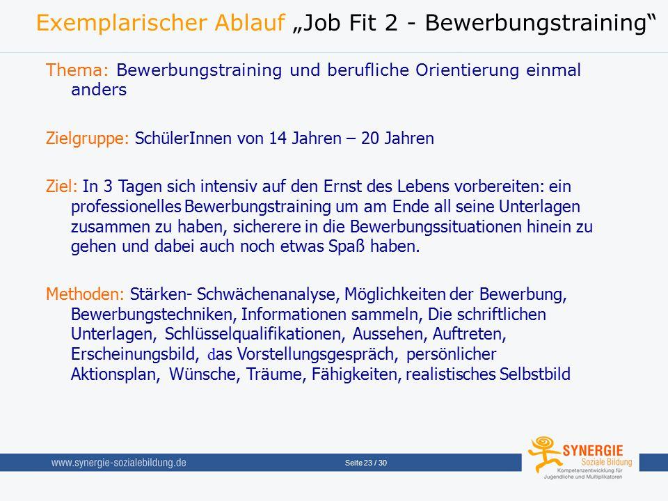 """Exemplarischer Ablauf """"Job Fit 2 - Bewerbungstraining"""
