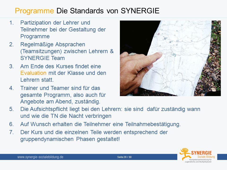 Programme Die Standards von SYNERGIE