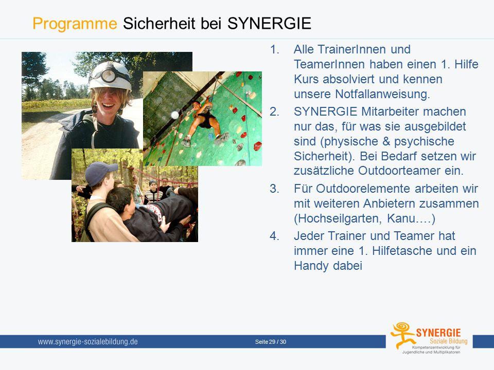 Programme Sicherheit bei SYNERGIE