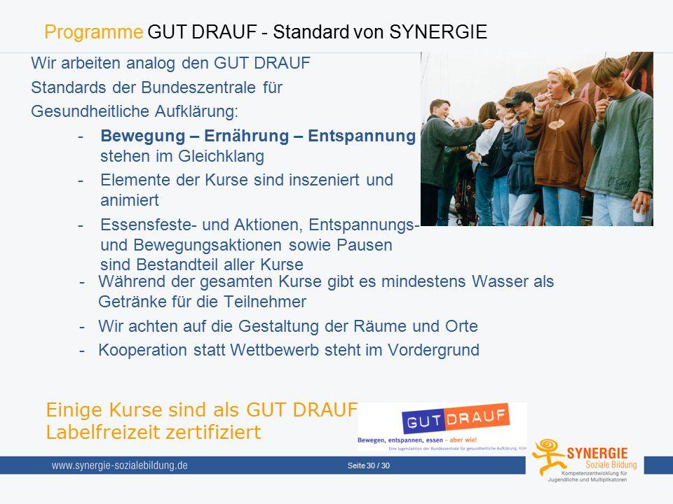 Programme GUT DRAUF - Standard von SYNERGIE