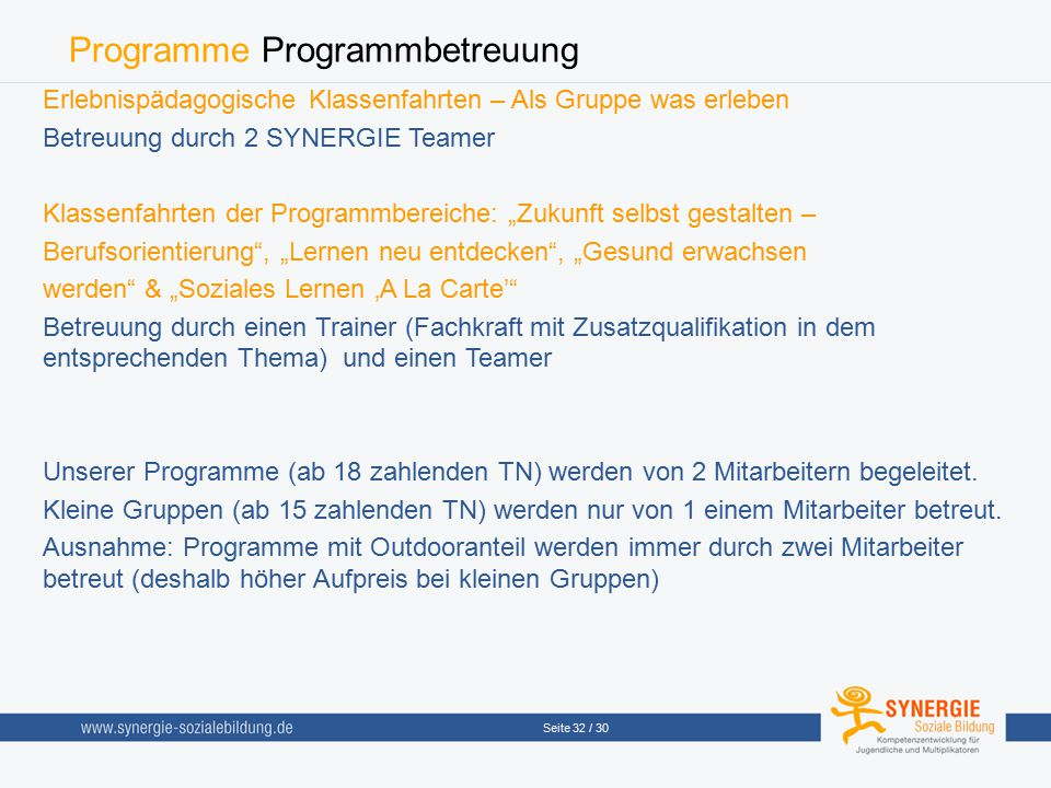 Programme Programmbetreuung