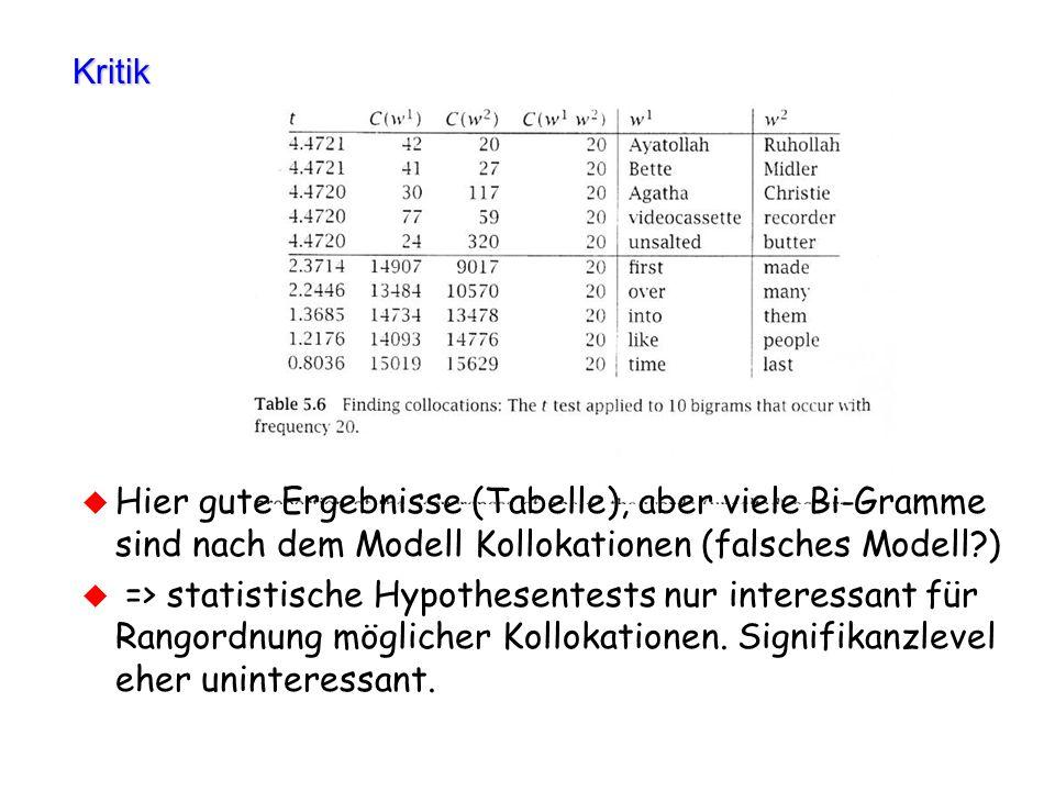 Kritik Hier gute Ergebnisse (Tabelle), aber viele Bi-Gramme sind nach dem Modell Kollokationen (falsches Modell )