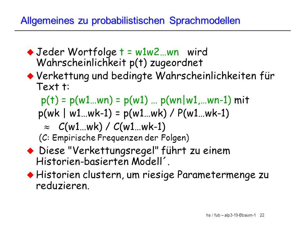 Allgemeines zu probabilistischen Sprachmodellen