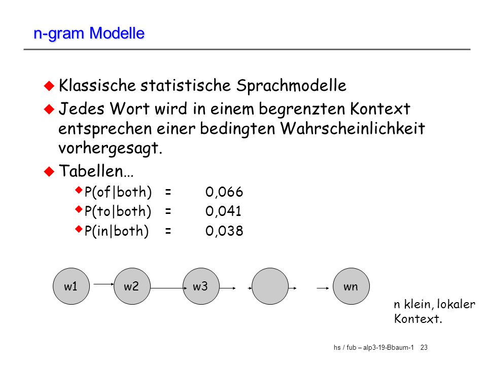 Klassische statistische Sprachmodelle