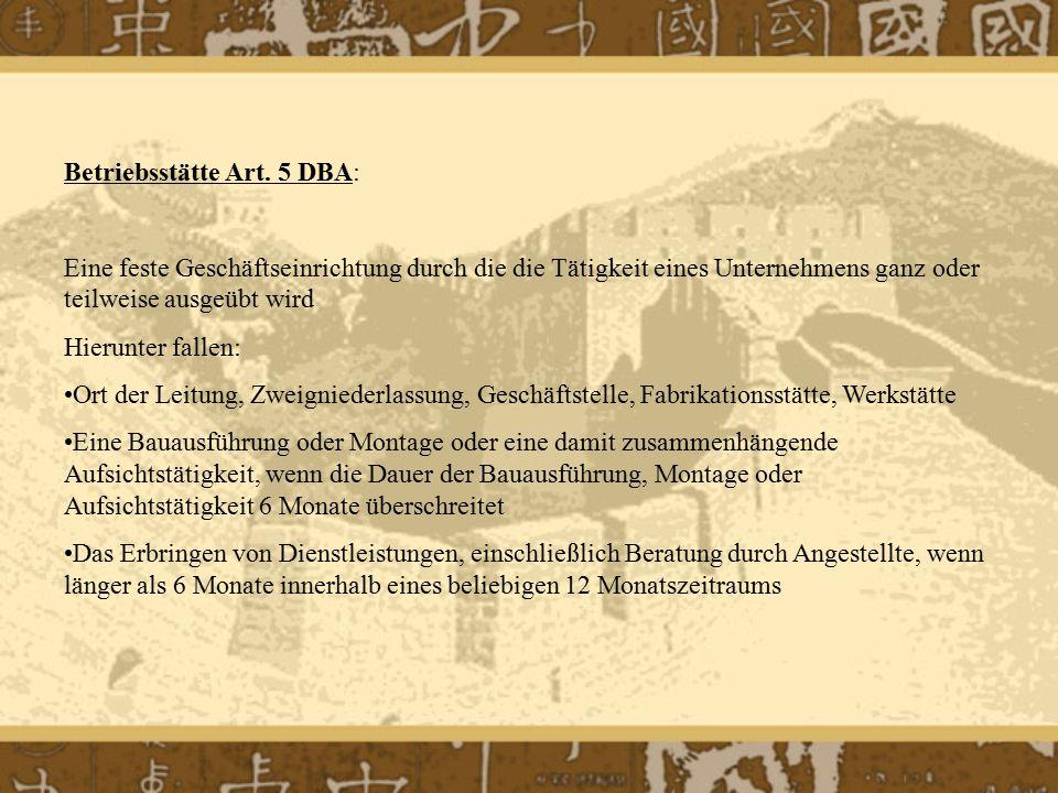 Betriebsstätte Art. 5 DBA:
