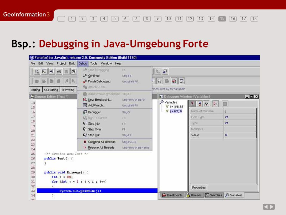 Bsp.: Debugging in Java-Umgebung Forte