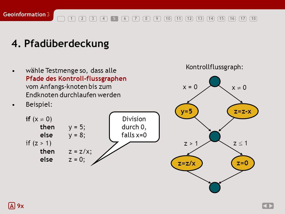 4. Pfadüberdeckung y=5 z=z-x z=z/x z=0 x = 0 z > 1 x  0 z  1