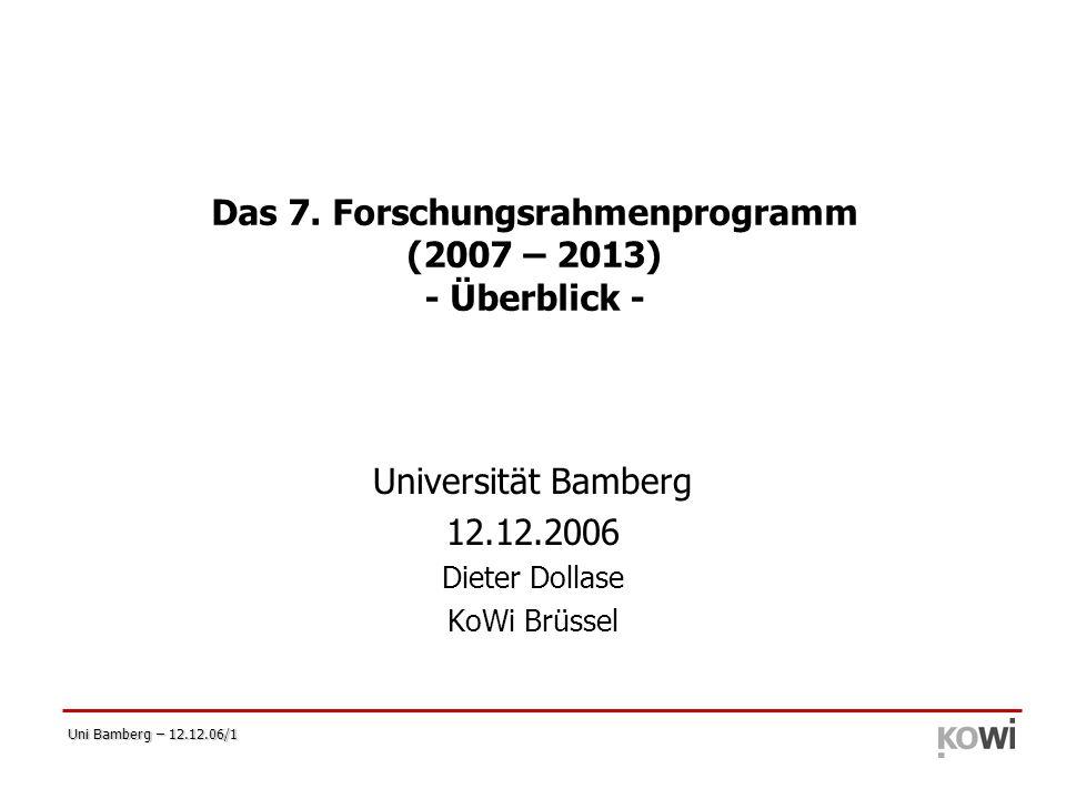 Das 7. Forschungsrahmenprogramm (2007 – 2013) - Überblick -