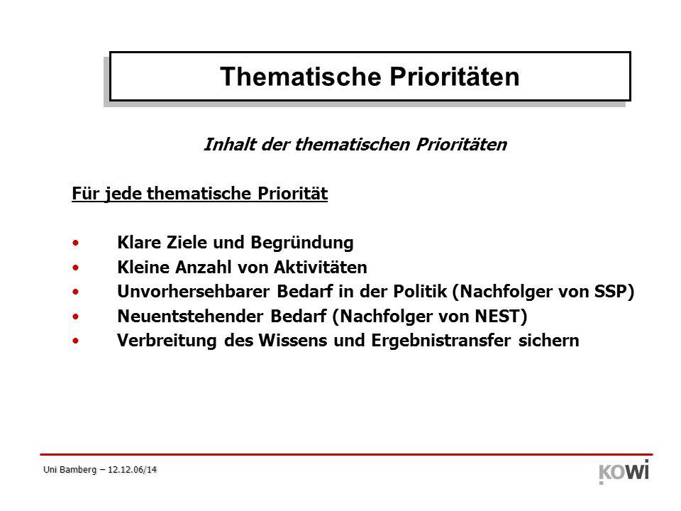 Thematische Prioritäten Inhalt der thematischen Prioritäten