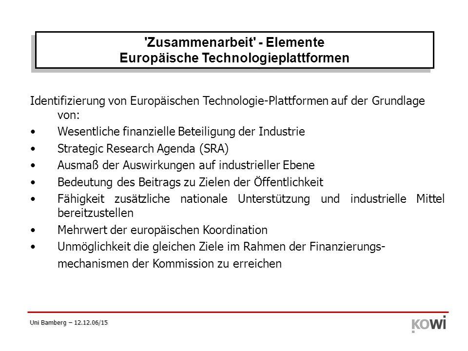 Zusammenarbeit - Elemente Europäische Technologieplattformen