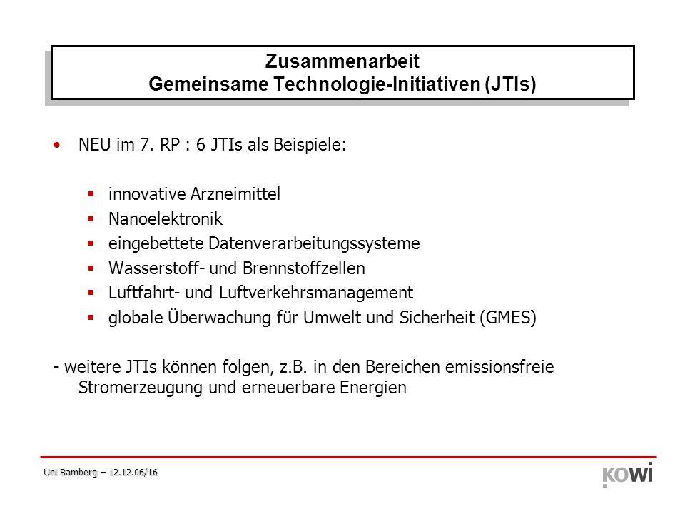 Zusammenarbeit Gemeinsame Technologie-Initiativen (JTIs)
