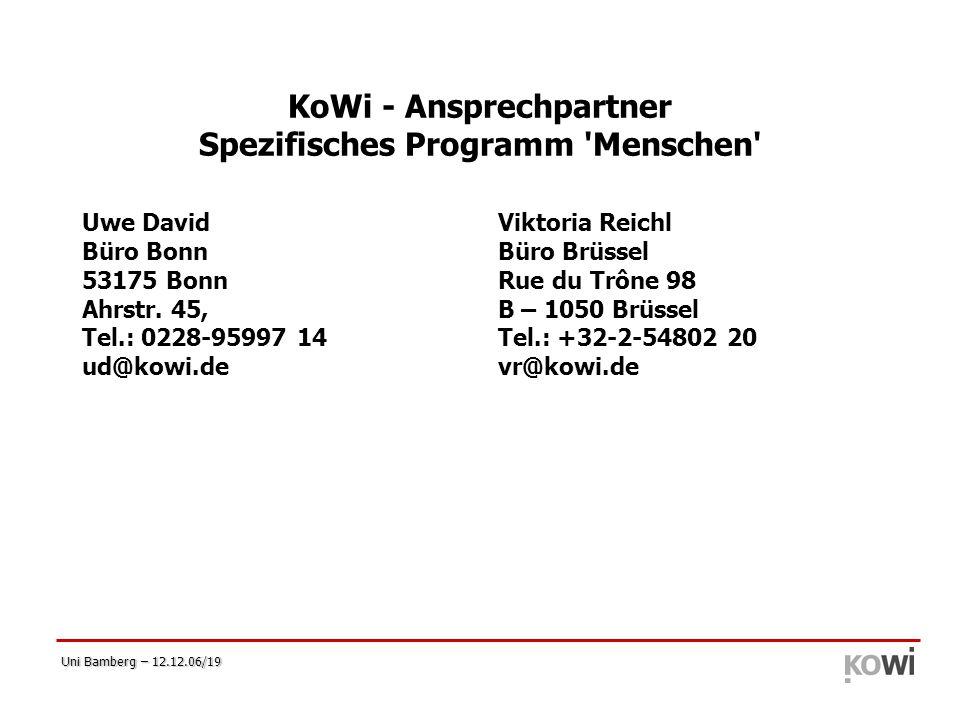 KoWi - Ansprechpartner Spezifisches Programm Menschen