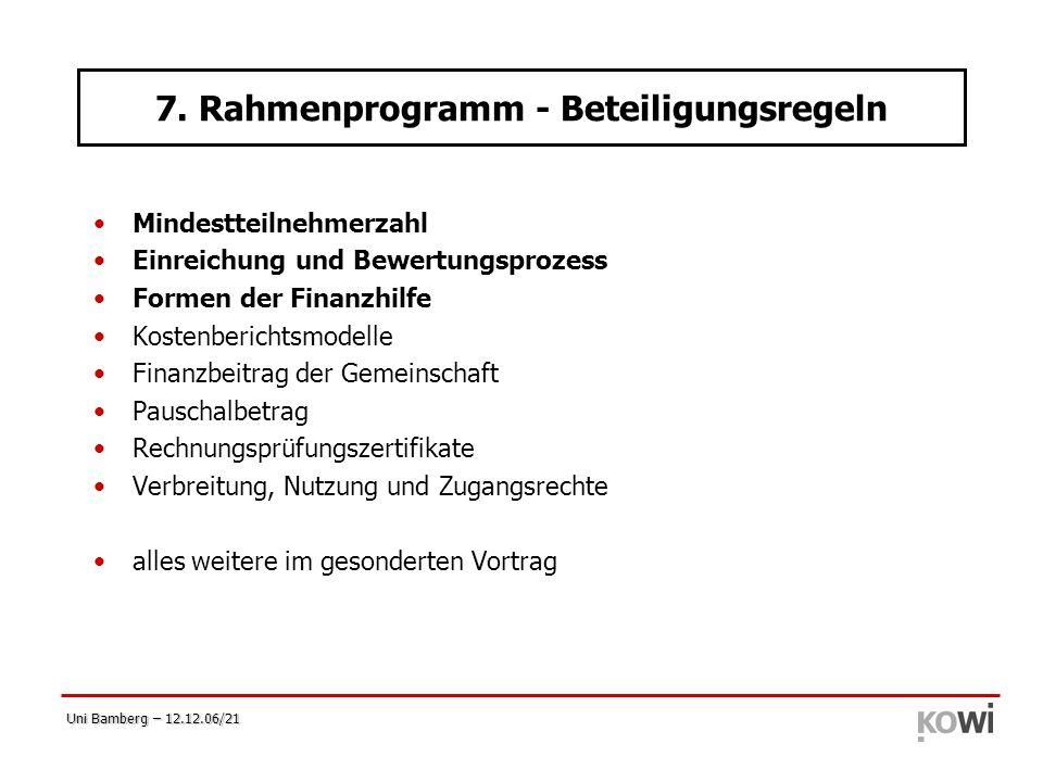 7. Rahmenprogramm - Beteiligungsregeln