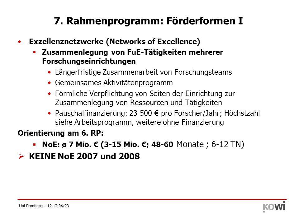 7. Rahmenprogramm: Förderformen I