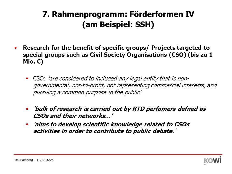 7. Rahmenprogramm: Förderformen IV (am Beispiel: SSH)