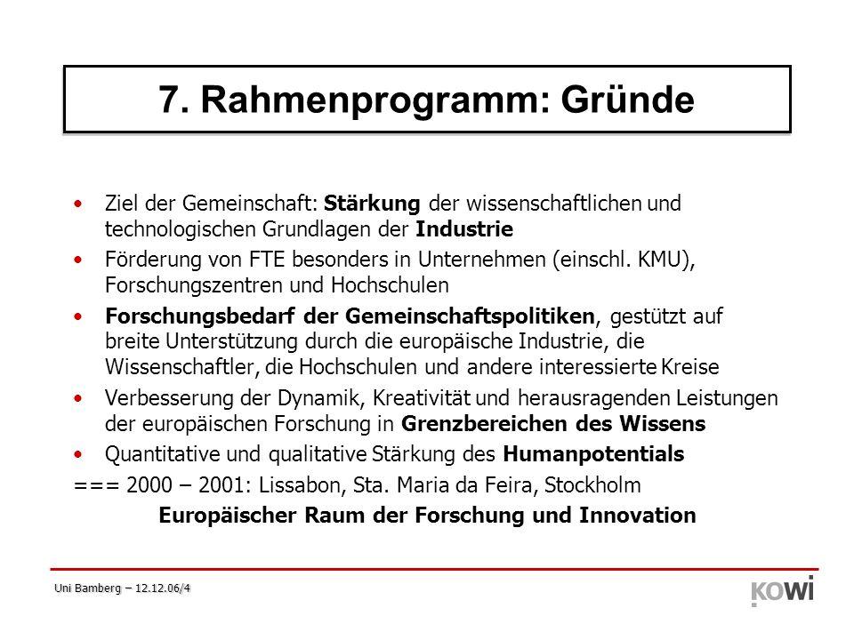 7. Rahmenprogramm: Gründe (1)