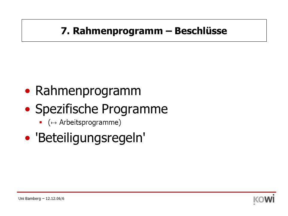 7. Rahmenprogramm – Beschlüsse