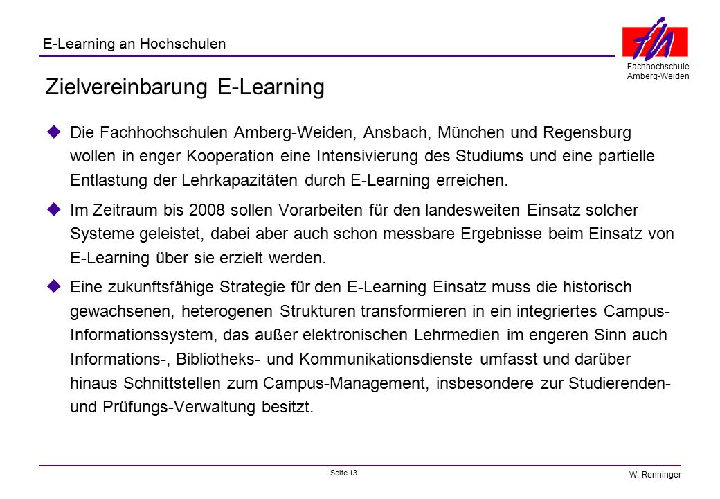 Zielvereinbarung E-Learning