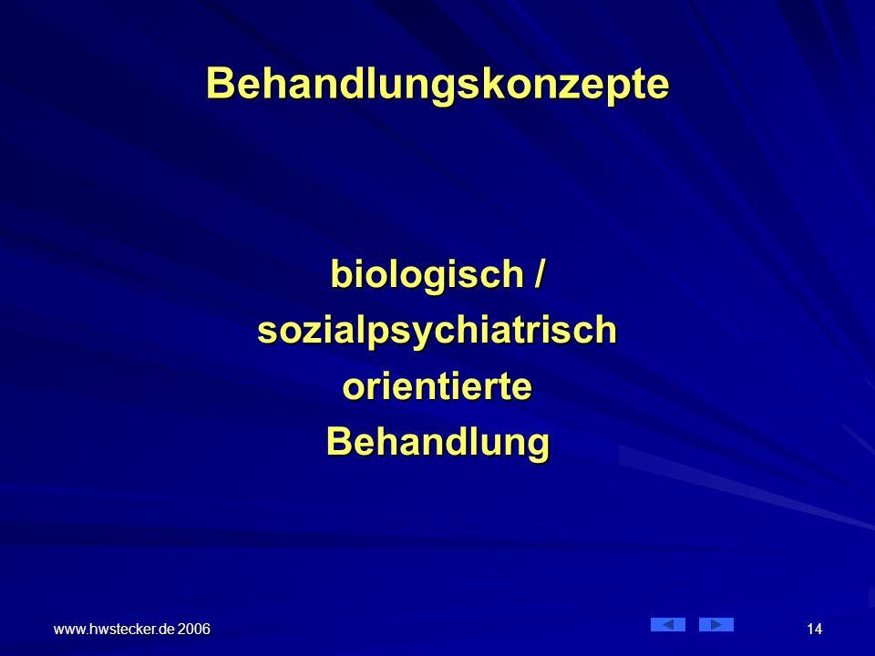 Behandlungskonzepte biologisch / sozialpsychiatrisch orientierte