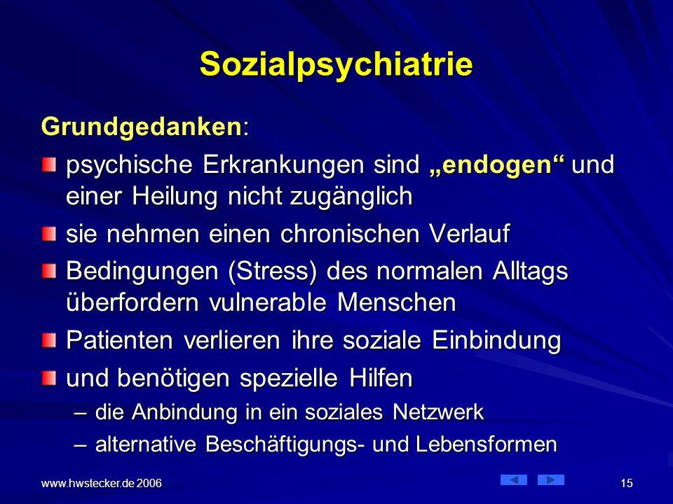Sozialpsychiatrie Grundgedanken: