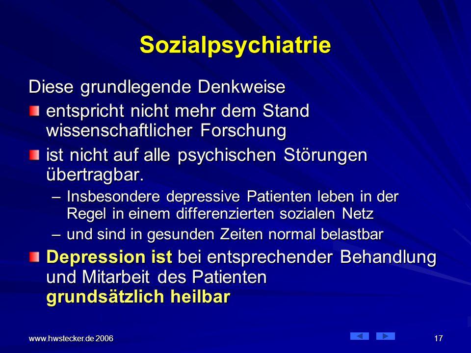 Sozialpsychiatrie Diese grundlegende Denkweise