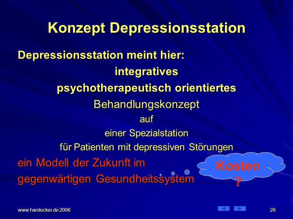 Konzept Depressionsstation