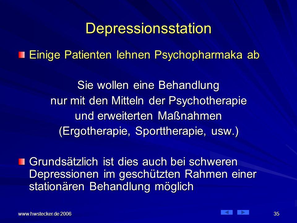 Depressionsstation Einige Patienten lehnen Psychopharmaka ab