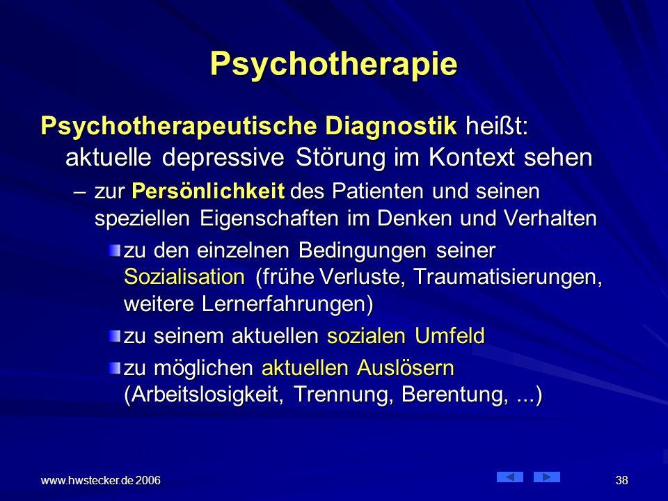 Psychotherapie Psychotherapeutische Diagnostik heißt: aktuelle depressive Störung im Kontext sehen.