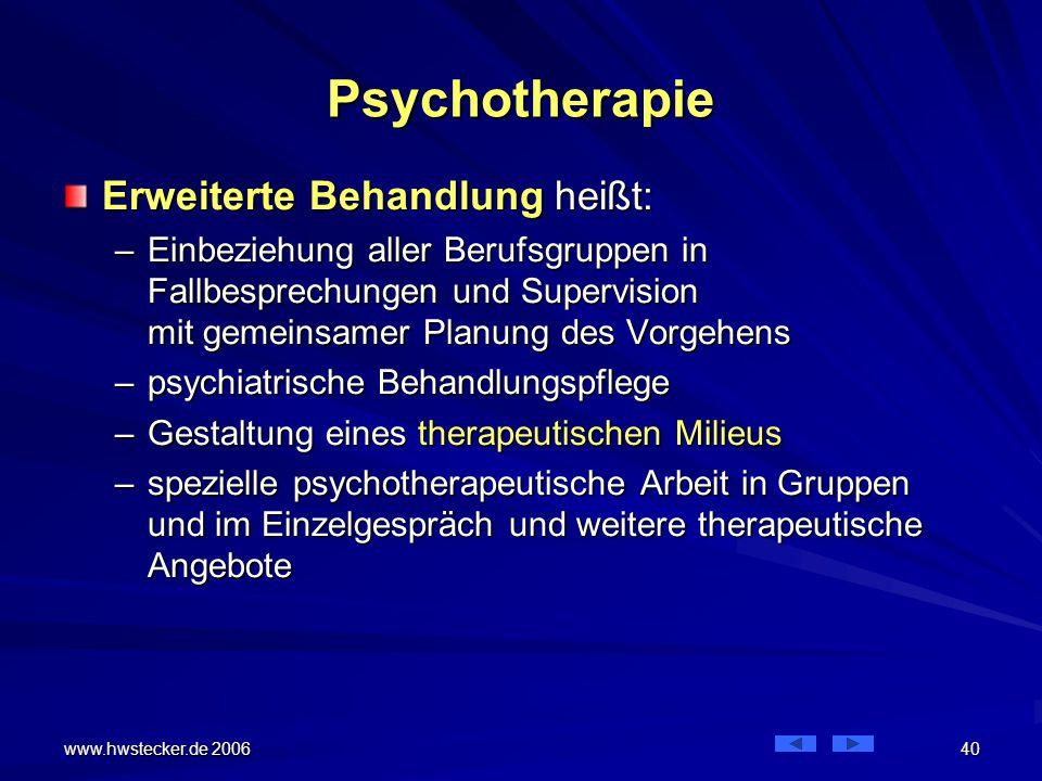 Psychotherapie Erweiterte Behandlung heißt: