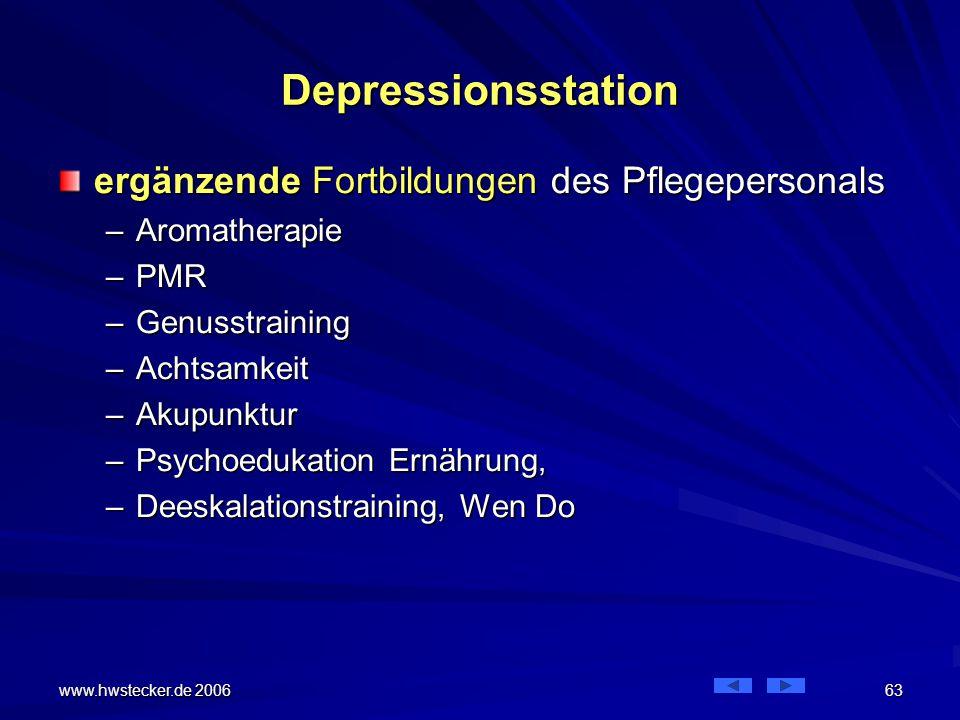 Depressionsstation ergänzende Fortbildungen des Pflegepersonals