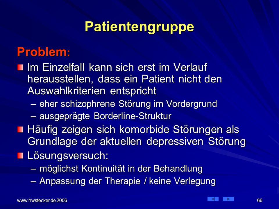 Patientengruppe Problem: