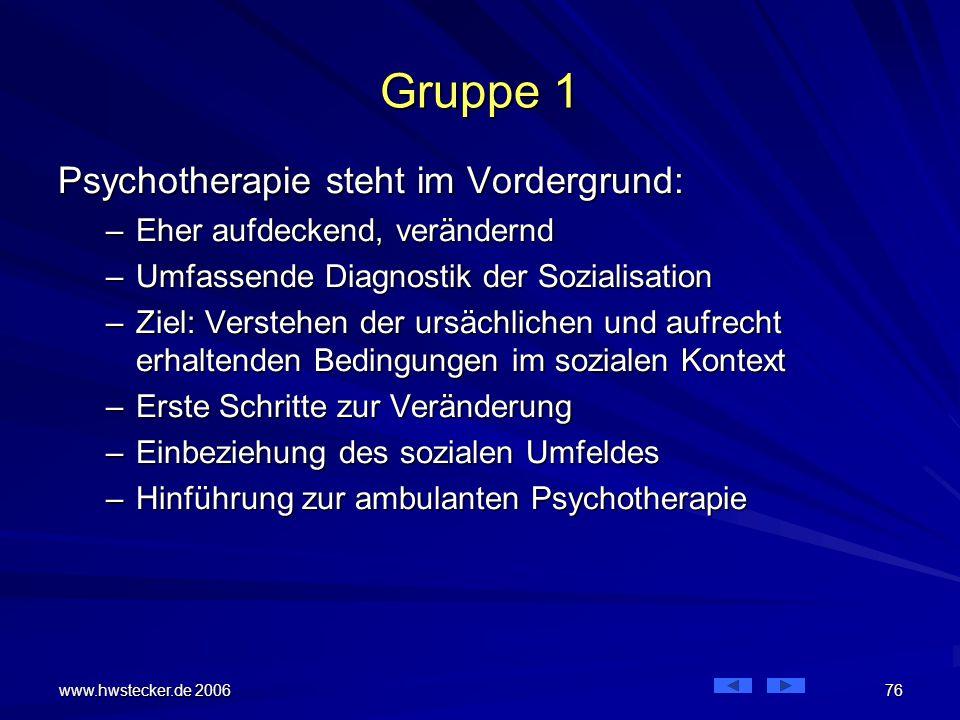 Gruppe 1 Psychotherapie steht im Vordergrund: