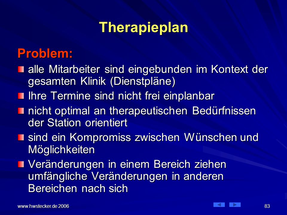 Therapieplan Problem: