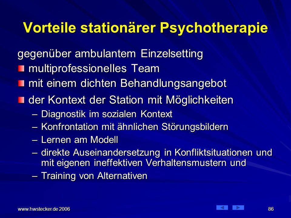 Vorteile stationärer Psychotherapie