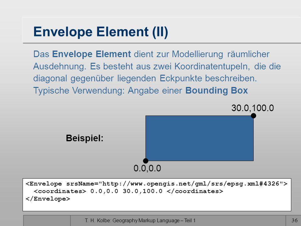 Envelope Element (II) Das Envelope Element dient zur Modellierung räumlicher. Ausdehnung. Es besteht aus zwei Koordinatentupeln, die die.