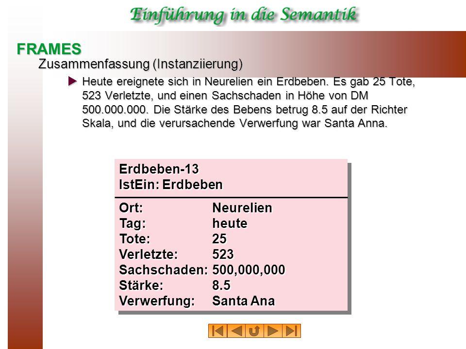 FRAMES Zusammenfassung (Instanziierung) Erdbeben-13 IstEin: Erdbeben