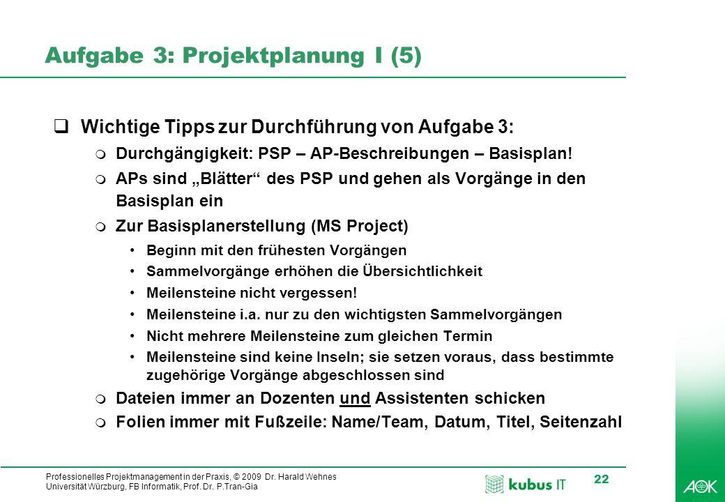 Aufgabe 3: Projektplanung I (5)