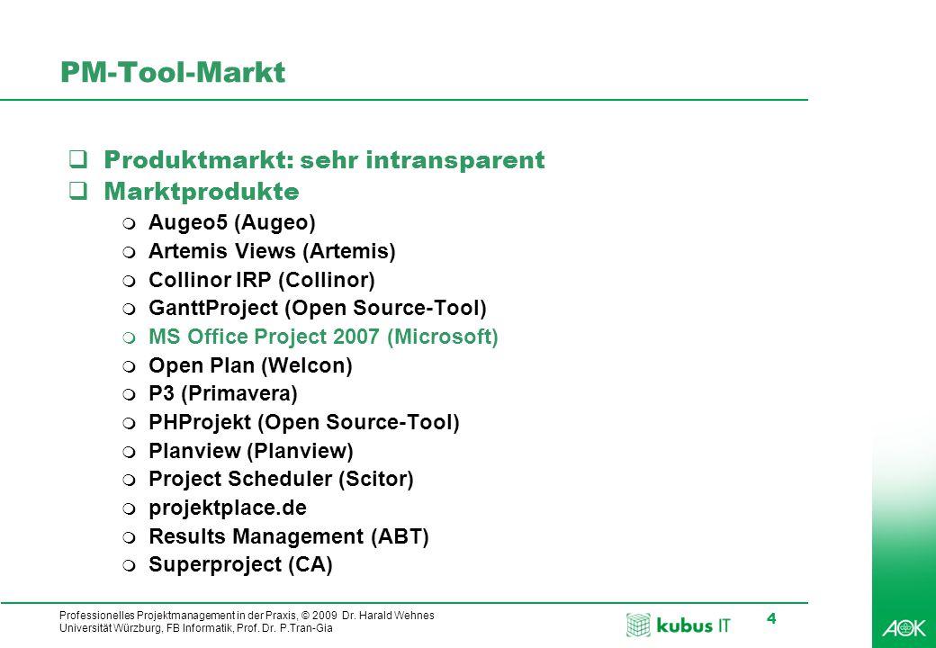 PM-Tool-Markt Produktmarkt: sehr intransparent Marktprodukte