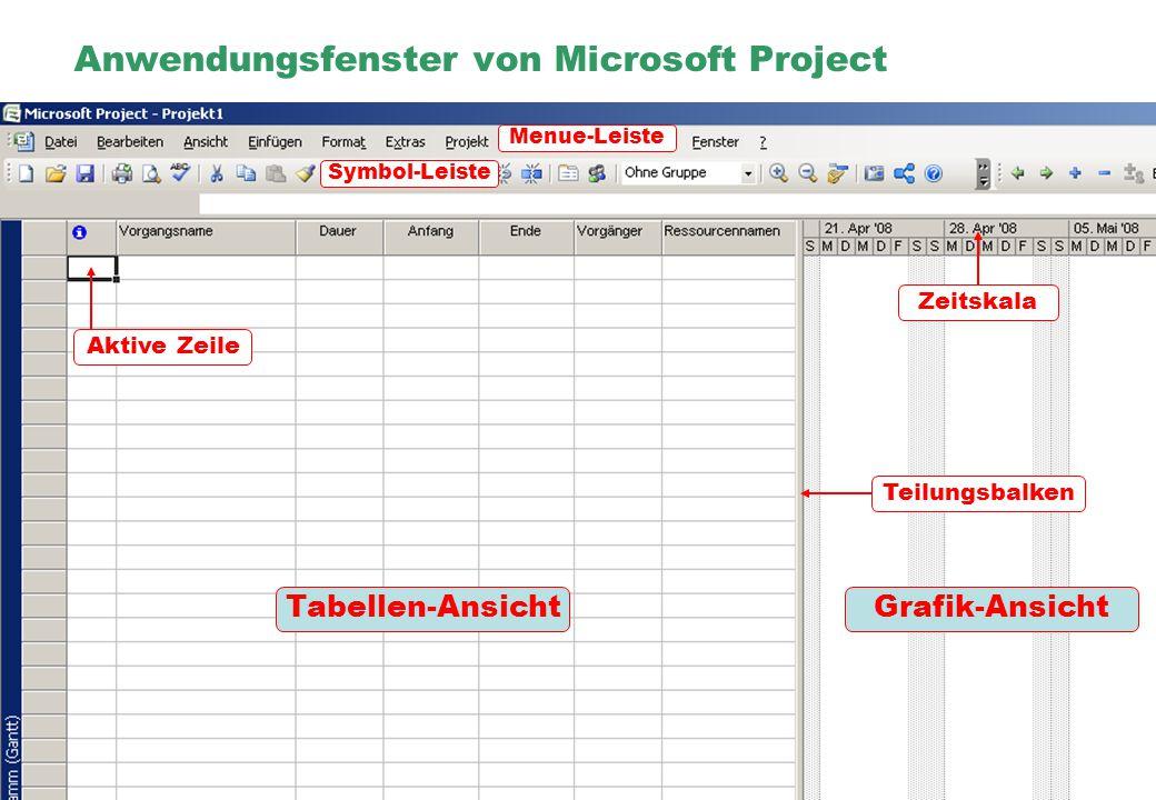 Anwendungsfenster von Microsoft Project