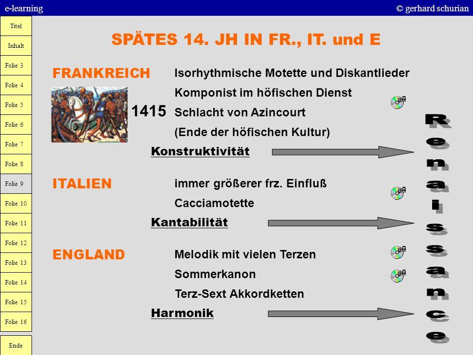 SPÄTES 14. JH IN FR., IT. und E 1415 Renaissance FRANKREICH ITALIEN