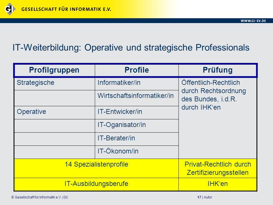 IT-Weiterbildung: Operative und strategische Professionals