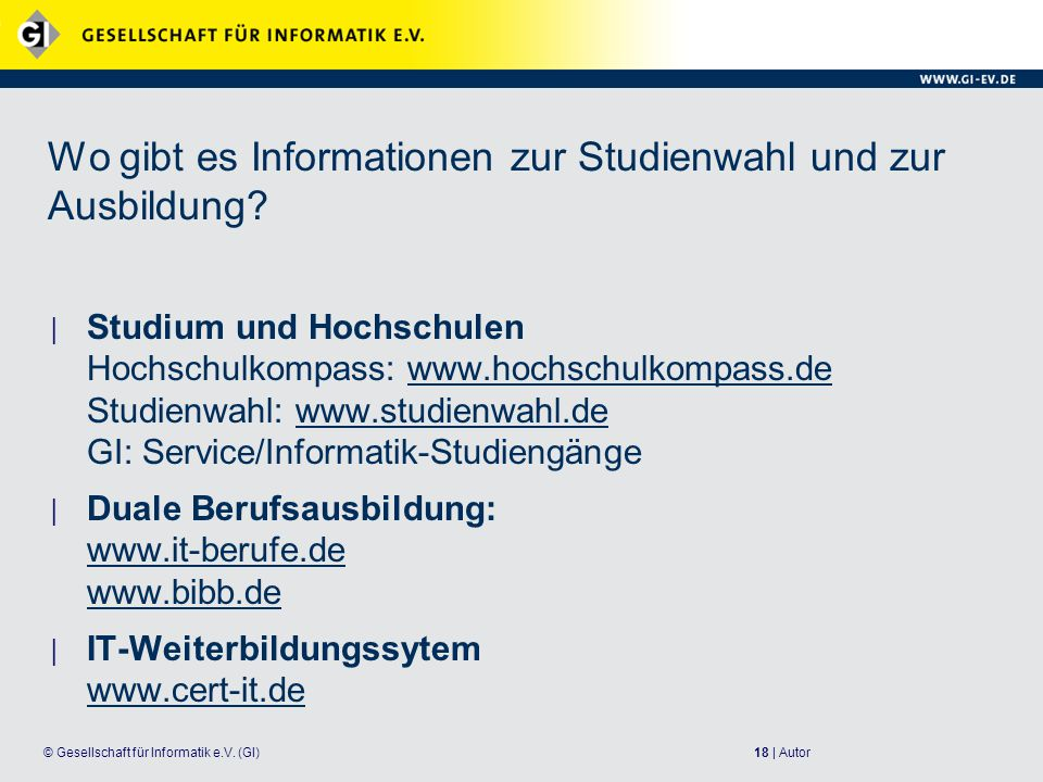 Wo gibt es Informationen zur Studienwahl und zur Ausbildung