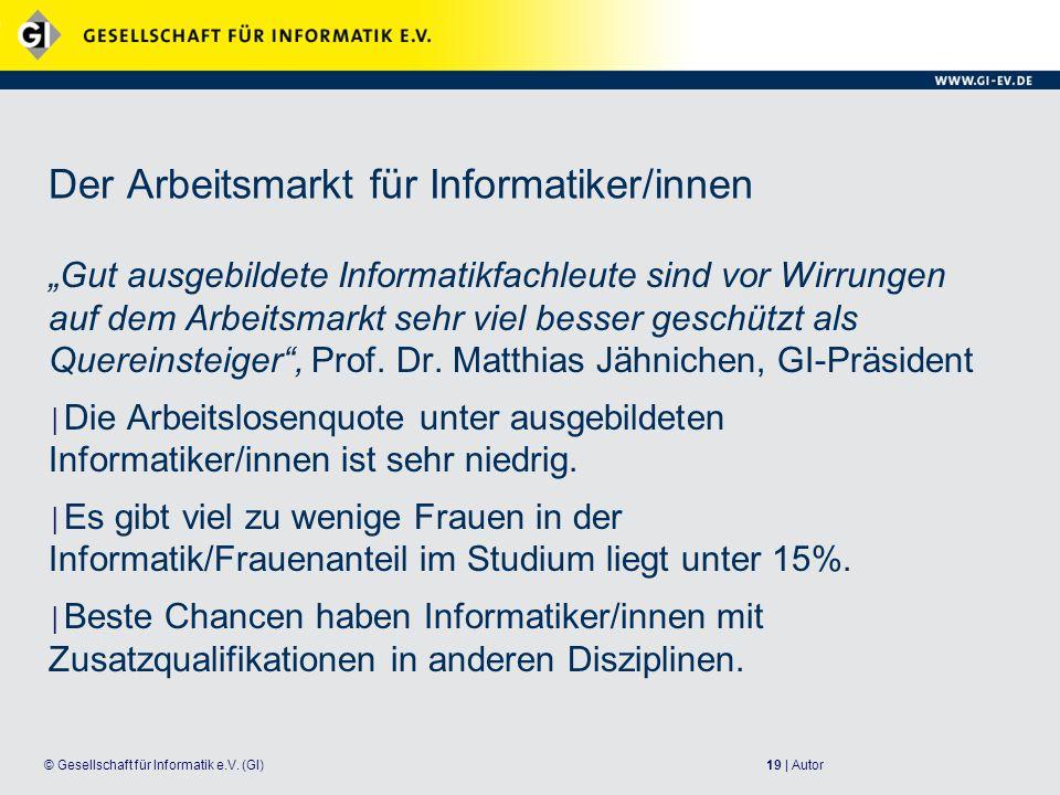 Der Arbeitsmarkt für Informatiker/innen
