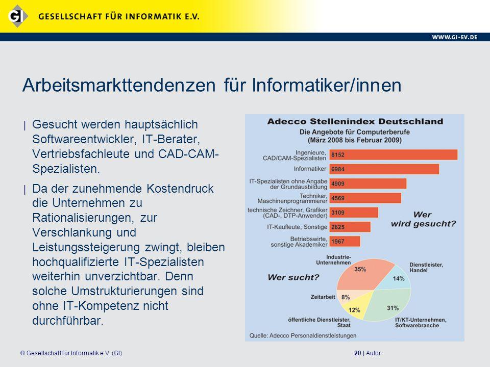Arbeitsmarkttendenzen für Informatiker/innen