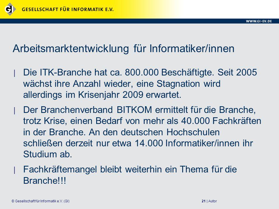 Arbeitsmarktentwicklung für Informatiker/innen