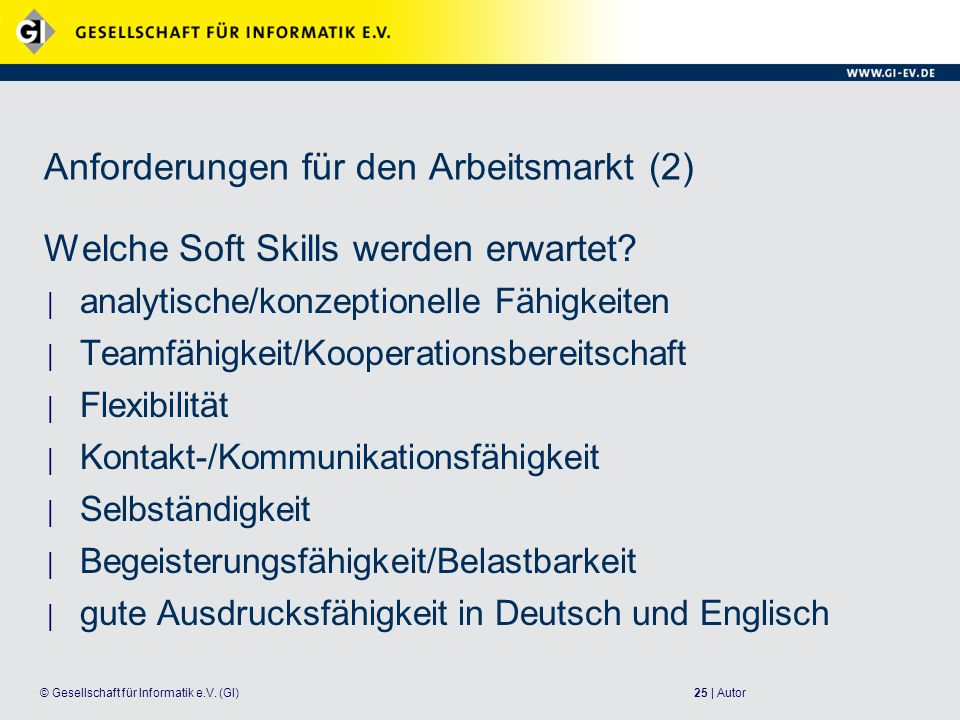 Anforderungen für den Arbeitsmarkt (2)