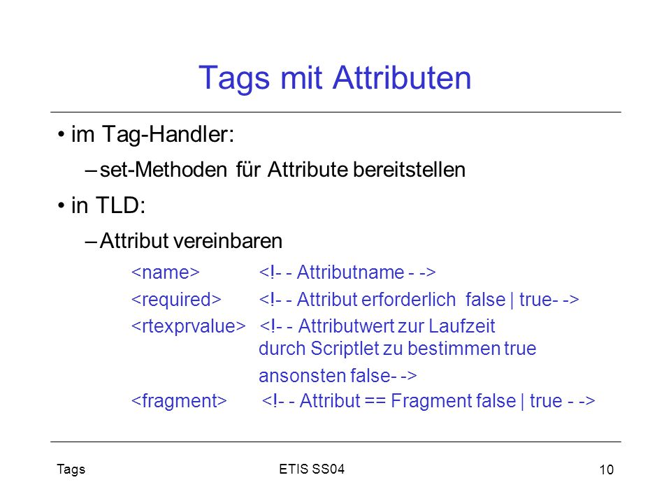 Tags mit Attributen im Tag-Handler: in TLD: