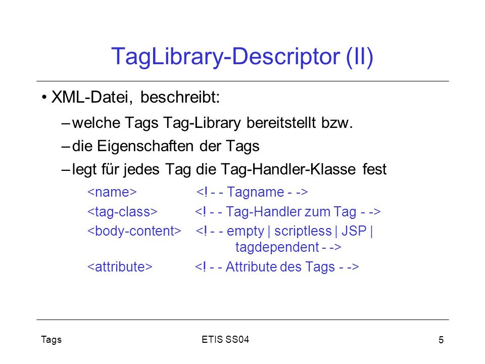 TagLibrary-Descriptor (II)