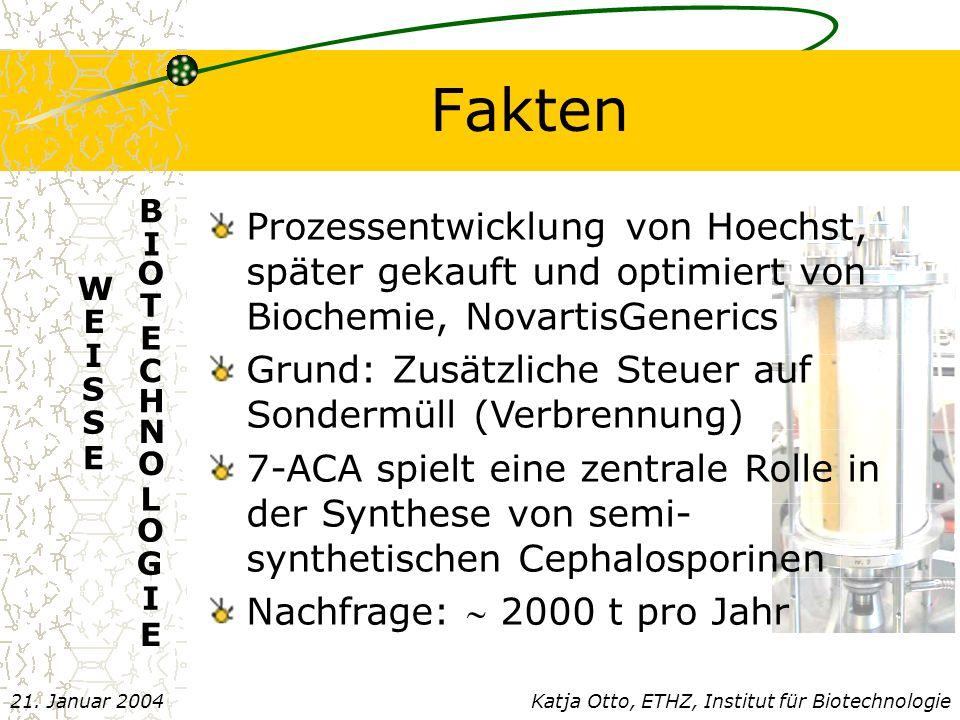 Fakten E. B. I. O. T. C. H. N. L. G. Prozessentwicklung von Hoechst, später gekauft und optimiert von Biochemie, NovartisGenerics.